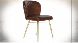 Chaise en cuir molletonné finition brun caramel de style rétro, 80cm