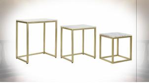 Série de 3 tables d'appoint gigognes en fer doré et marbre finition blanche ambiance moderne chic, 60cm