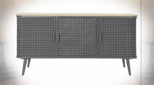 Buffet 3 portes en bois et métal finition gris souris ambiance atelier moderne, 118cm