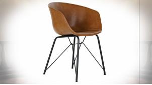 Chaise de style rétro imitation cuir finition brun caramel, 79cm