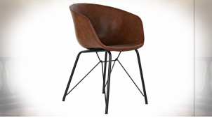Chaise en métal noir assise imitation cuir finition brun caramel ambiance rétro, 79cm