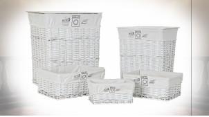 Série de 5 corbeilles en osier finition blanche ambiance cottage, 54cm
