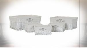 Série de 5 corbeilles rectangulaires en osier finition blanche ambiance cottage, 48cm