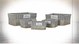 Série de 5 corbeilles en osier finition naturelle et doublure grise ambiance cottage, 48cm