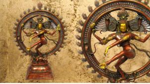 Grande sculpture en laiton massif de Nataraja excécutant la danse cosmique, 106cm / 38 kg