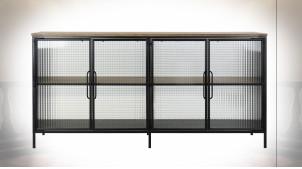 Buffet 4 portes en verre gaufré et métal finition noire ambiance industrielle, 161cm