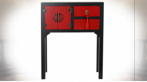 Petite console de style Japonais en bois de sapin finition rouge coquelicot et noire, 83cm