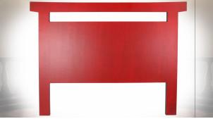 Tête de lit en bois de sapin finition rouge coquelicot et noir ambiance Japonaise, 160cm