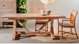 Table Monastère en bois de mindi massif, finition naturelle et patine blanc cérusé, 200cm