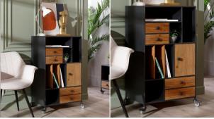 Meuble d'appoint en bois et métal, 12 espaces de rangement, ambiance moderne atelier, 102cm