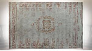 Grand tapis rectangulaire finition blanc crème et beige ambiance orientale, 290cm