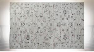 Grand tapis rectangulaire au motifs de fleurs finition blanc argile ambiance shabby chic, 290cm