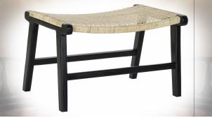 Bout de lit en bois de teck patiné noir et cannage de rotin finition naturelle, 65cm