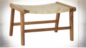 Bout de lit en bois de teck et cannage de rotin finition naturelle ambiance tropicale, 65cm
