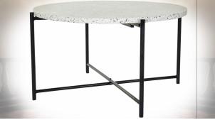 Table basse de style moderne en fer noir et plateau en granit, Ø80cm