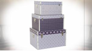 Série de 3 coffres de rangement en bois motifs géométriques finition bleu ciel et violet ambiance boho, 64cm