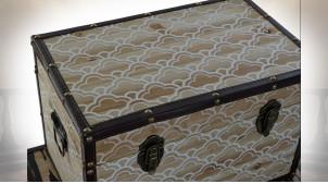 Série de 3 malles de rangement en bois, motifs géométriques blancs et noirs, 60cm