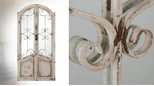 Miroir porte fenêtre de 104cm, en bois et métal effet fer forgé, ambiance vieille campagne