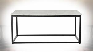 Table basse de style moderne en fer noir et plateau en granit, 100cm