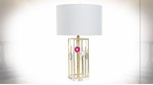 Lampe à poser en métal ajouré finition dorée ambiance moderne chic, 72cm