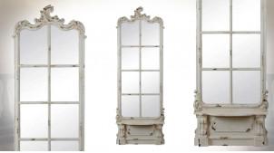 Très grand miroir de 215cm en bois, esprit baroque classique vieux manoir, finition décapée