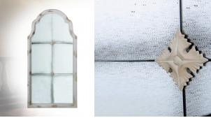 Miroir fenêtre en bois et verre effet usé moucheté, finition blanc antique, 120cm