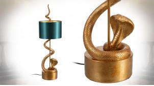 Grande lampe à poser avec pied en forme de serpent, finition doré ancien et vert impérial, 84cm
