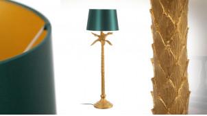 Lampadaire en forme de palmier finition doré ancien, abat jour vert impérial, ambiance tropicalo chic, 121cm