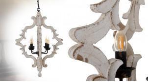 Grand lustre en bois de style rustique, finition blanc décapé, 4 feux centraux, Ø54cm