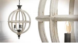 Suspension sphérique en bois de sapin blanchi, ambiance vieille campagne, 3 feux, Ø49cm