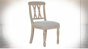 Chaise à dossier en croisillons en bois de caoutchouc finition naturelle blanchie, assise en lin gris ambiance classique, 89cm