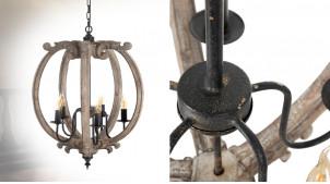 Grande suspension en bois finition brute, ambiance vieille demeure, 5 feux, Ø54cm