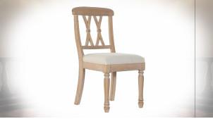 Chaise de style classique en bois de caoutchouc finition naturelle et assise en lin gris perle, 89cm