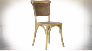 Chaise en bois de bouleau et rotin tressé finition naturelle ambiance rétro, 87.5cm