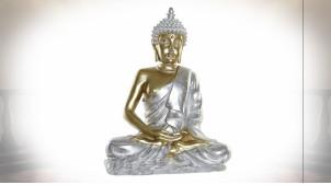 Statuette de Bouddha en résine finition argentée et dorée, 65cm