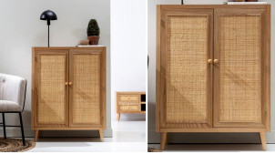 Armoire d'appoint à 2 portes, en bois de chêne et habillage rotin, finitions naturelles, 104cm