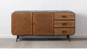 Buffet moderne en métal et bois, habillage des 2 portes en rotin et des 3 tiroirs en sapin, 160cm