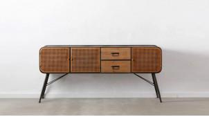 Enfilade de 180cm de long en métal et bois, 3 portes et 2 tiroirs, ambiance moderne indus chic