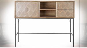 Console en bois finition naturelle et formes géométriques ambiance rétro, 130cm
