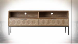 Meuble TV en métal et bois finition naturelle, formes géométriques ambiance rétro, 140cm