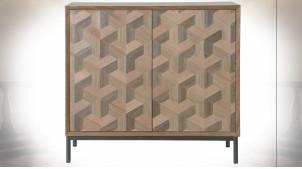 Buffet 2 portes en bois, motifs géométriques ambiance rétro, 80.5cm