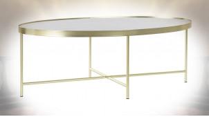 Table basse ovale en acier finition dorée et plateau en marbre noir ambiance rétro, 110cm