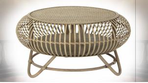 Table basse circulaire en rotin finition naturelle de style tropical, Ø75cm