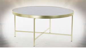 Table basse circulaire en métal doré et plateau en verre teinté noir ambiance moderne chic, Ø82cm