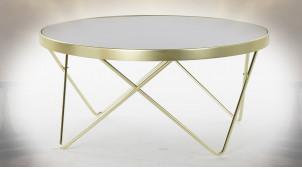 Table basse en verre teinté noir et métal finition dorée de style moderne, Ø82cm