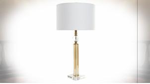Lampe à poser en verre transparent et reflets dorés ambiance moderne chic, 80cm