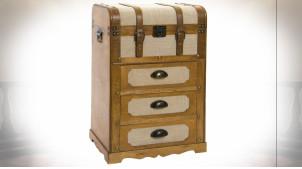 Petit meuble de rangement à tiroirs en forme de vieille malle ambiance rétro, 71cm