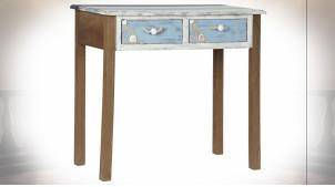Console à 2 tiroirs avec ornementations de coquillages et filets de pêche ambiance bord de mer, 80cm