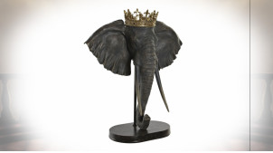 Trophée éléphant avec couronne en résine finition noire et dorée, 57cm