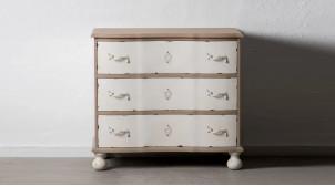 Commode trois tiroirs en bois de sapin, finition naturelle et blanc décapé, ambiance shabby chic, 90cm